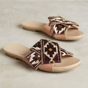 Anthropologie Ne Quittez Pas Tribal Slide Sandal